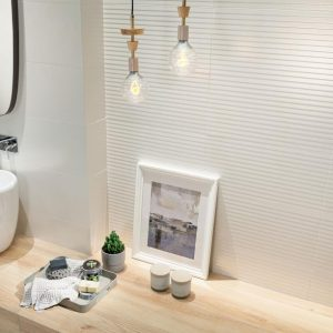 Revali Reflection White Stripe Matt Tile